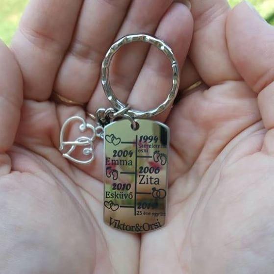 szerelmes idővonal kulcstartó