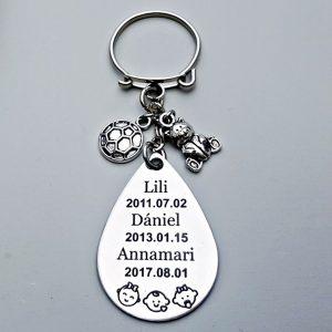 Gyermeklánc emlékőr kulcstartó, gravírozott kulcstartók és gravírozott ajándékok