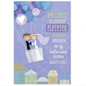 Óriás képeslap esküvőre, képeslap nászajándék kék színű szívecskés hőlégballon