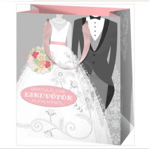 Esküvős gratuláló papírtáska, csomagolás nászajándékhoz