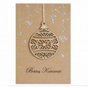 Ünnepi képeslap, fa dísszel díszes karácsonyi képeslap