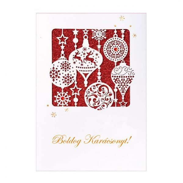 piros és fehér karácsonyi képeslap, díszes képeslap