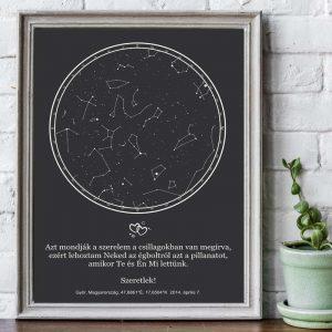 Csillagkép évfordulóra | asztali méret, évfordulós ajándék pároknak. Egyedi csillagállással, választható fehér, vagy fekete színű kerettel