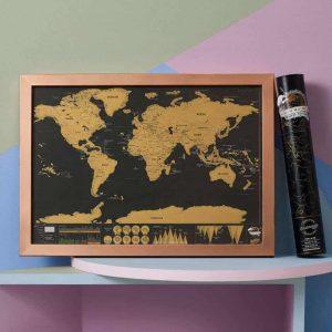 Kaparós térkép világutazóknak | Deluxe, kis méretű. Ajándék utazóknak. Scratch map rendelés.