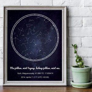 Csillagos égbolt csillagtérkép, romantikus ajándék évfordulóra