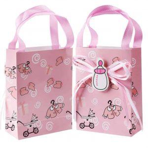 Babaköszöntő mini ajándéktasak 2db, rózsaszín babakocsi és cumi mintával