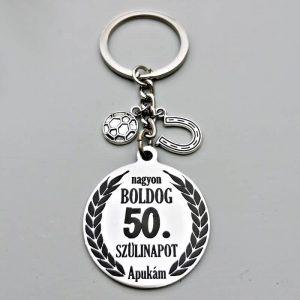 50 éves szülinapi ajándék kulcstartó, ajándékötlet férfinak