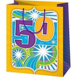 50. szülinap ajándéktasak, ajándék 50. szülinapra, 50 szülinapos csomagolás
