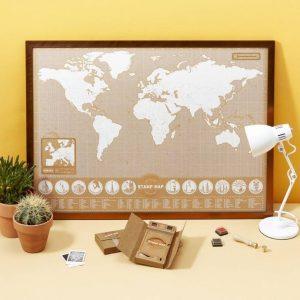 Pecsétes világtérkép falra, ajándék világutazóknak, kreatív ajándék