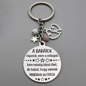 Ajándék barátnőnek, gravírozott kulcstartó