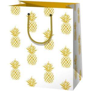 Ananászos papírtáska, ajándékcsomagolás lányos ajándékokhoz