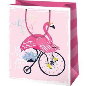 Flamingós ajándéktáska, ajándék lányoknak, flamingós ajándék, flamingós ajándékcsomagolás