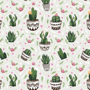 Kaktuszos csomagolópapír tekercs, kaktuszos ajándék, ajándék csomagolás, csomagolópapír
