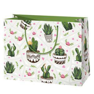 Kaktuszos dísztasak, ajándékcsomagolás