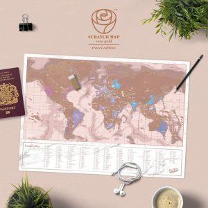 Lekaparható világtérkép - Rose Gold változatban