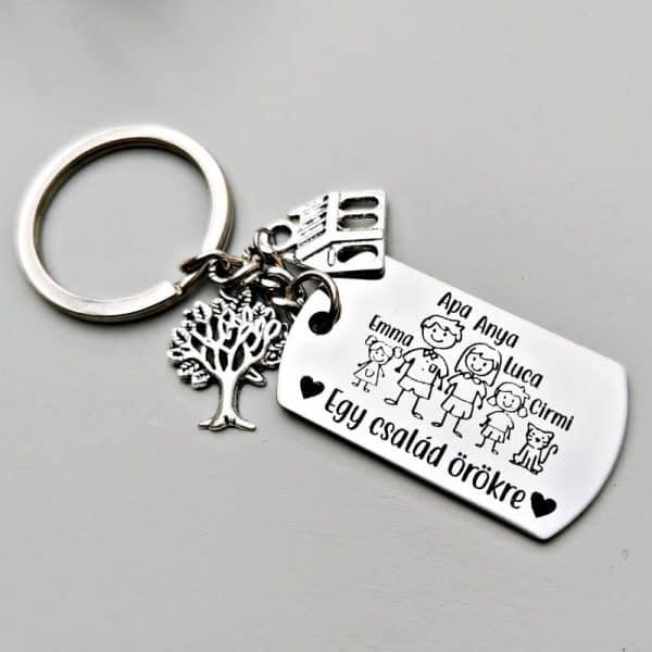 Az egyedi kulcstartó | családos kiadás egy gravírozott kulcstartó. Szuper ajándékötlet karácsonyra nőknek. A feliratokat te adhatod meg rá, választható tibeti ezüst charmokkal.