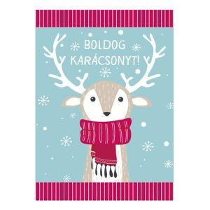 Karácsonyi rénszarvasos mini képeslap