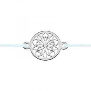 Niuni ezüst ékszer Virág Rosette medállal, választható színű zsinórral