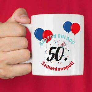 50. születésnap ajándék bögre