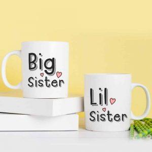 Big és Lil sister bögre pár lánytestvéreknek