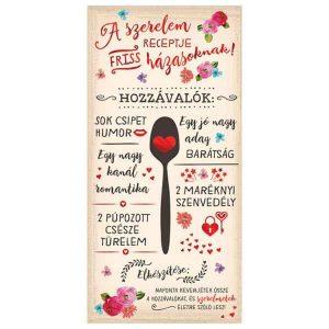 A szerelem receptje friss házasoknak - esküvős képeslap