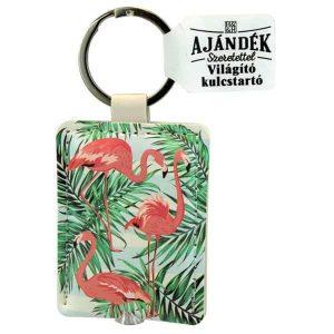 Flamingós kulcstartó - világítós