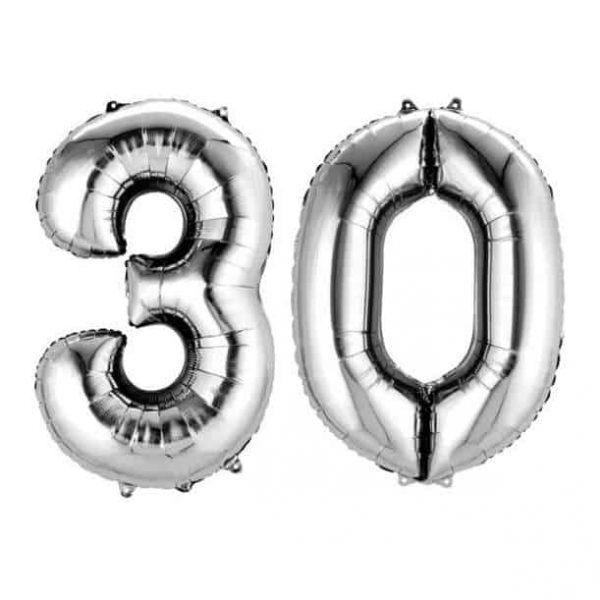 30-as Ezüst Szám Fólia Lufi, 30. születésnapra