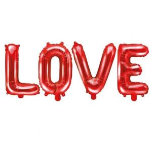 Piros fólia lufi - Love feliratú