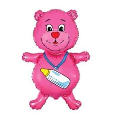 Fólia lufi - Rózsaszín maci üveggel, babaváró bulira