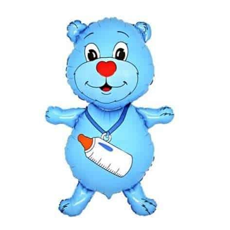 Fólia lufi - Kék maci üveggel, babaköszöntő bulira
