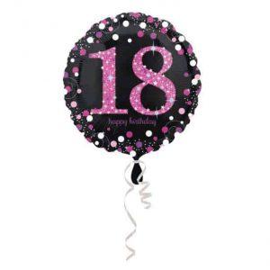 Fólia lufi 18-as számmal, csillogó rózsaszín külsővel