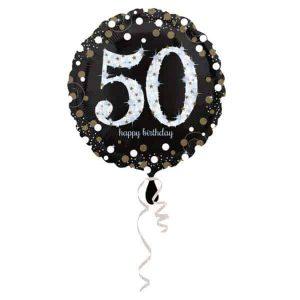Fólia lufi 50-es számmal, 50. születésnapra