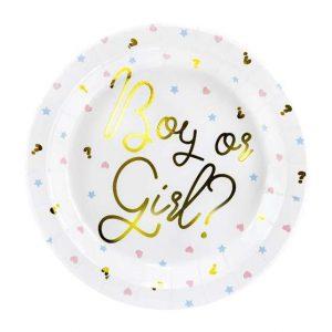 Papír tányérok - Boy or Girl felirattal