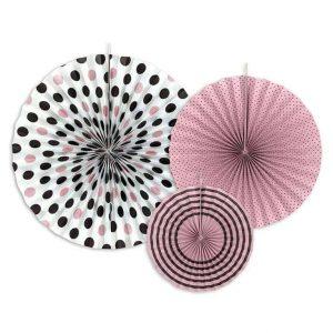 Rózsaszín-fekete dekorációs rozetták 3 db