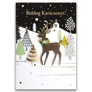 Aranyos, rénszarvasos karácsonyi képeslap