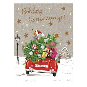 Boldog Karácsonyt, autós karácsonyi mini üdvözlőlap