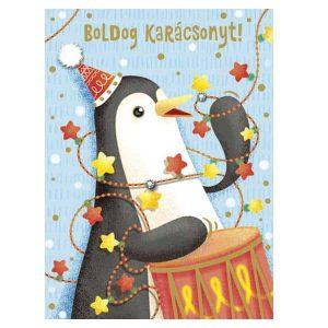 Cuki, pingvines karácsonyi mini képeslap