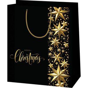 Fekete, csillagos karácsonyi tasak