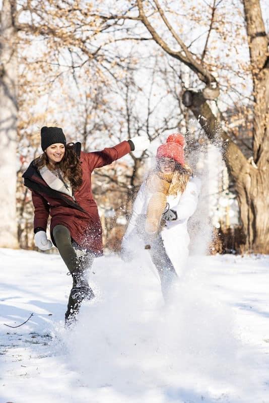 barátnők a hóban