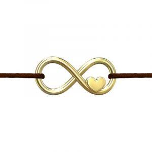 Arany színű Niuni zsinórkarkötő, végtelen jel medállal, választható színben