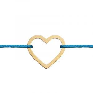 Arany bevonatú Niuni karkötő, szív medállal- választható színű zsinórral