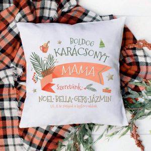 Karácsonyi párna nagymamáknak az unokák nevével