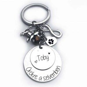 Örökre a szívemben-kutyusos gravírozott kulcstartó