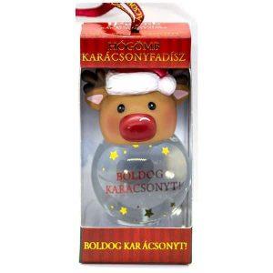 Hógömb, szarvasos - Boldog karácsonyt felirattal