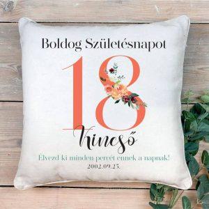 Szülinapi párna – ajándék 18. születésnapra