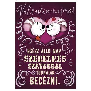 Egér páros, lila színű Valentin napi képeslap