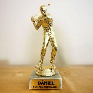 Ajándék golfozó férfinak - egyedi feliratos szobor