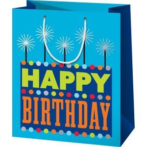 Happy birthday, kék színű szülinapi tasak