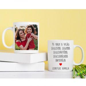 Különleges anyák napi ajándék, 2 oldalas fényképes bögre