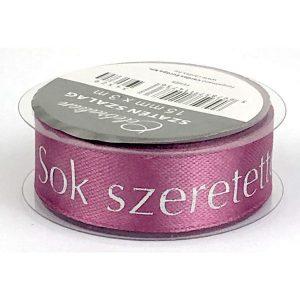 Sok szeretettel feliratú lila szatén szalag